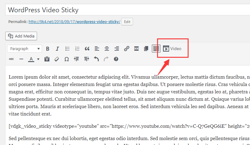 Make Playing Video Sticky Floating When Scrolling - WordPress Video