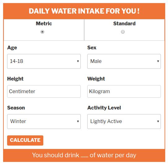 Water Intake Calculator