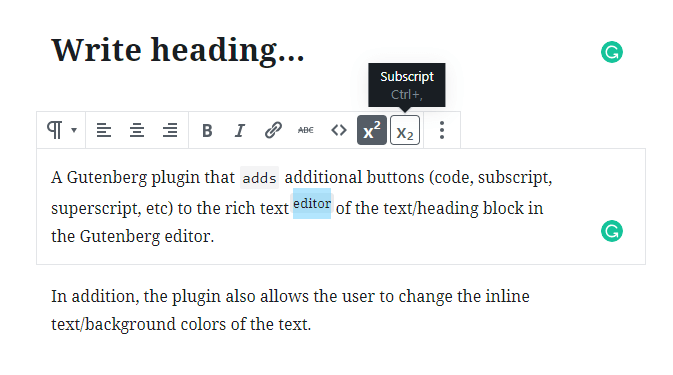 Additional Editor Buttons For Gutenberg Text Block | WP Missing